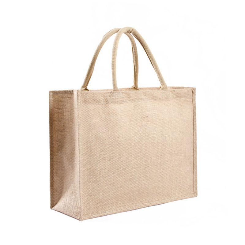 1Pcs Casual Kitchen Reusable Grocery Bags Natural Burlap Tote Shopping Bags Jute Bags