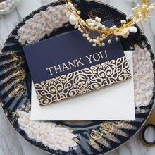 gold 25pcs deep blue Bushes thank you Card with envelope greeting card wedding birthday party invitation DIY Decor gift