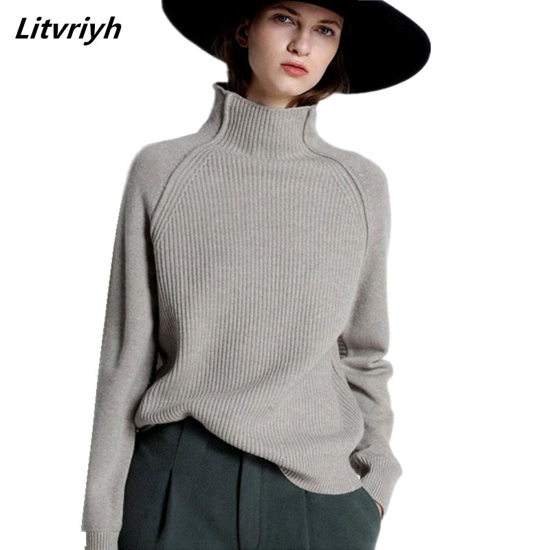 Litvriyh Autumn New Cashmere Sweaters Women Pullovers Long Sleeve High Neck Pullovers Women Sweaters Winter Warm Female Knitted
