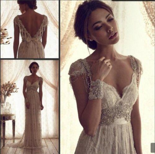 Romaitic Lace Beaded Backless Wedding Dress White/Ivory