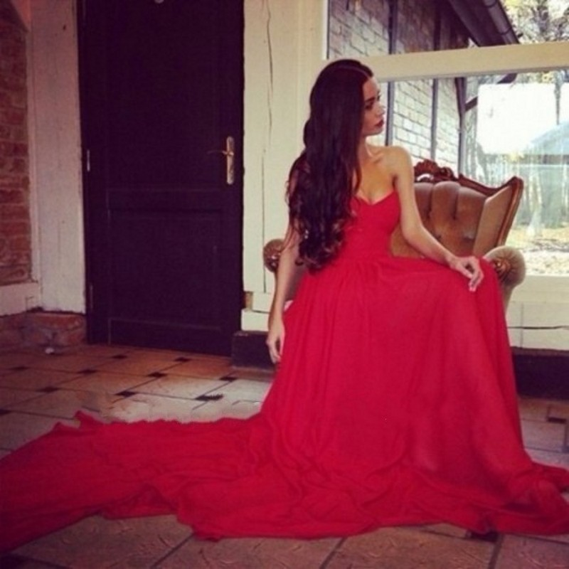 2017 Evening Dresses A Line Sweetheart Pleated Chiffon Long Train Charming Red Bridal Dress Weddings & Events Party Prom Dress