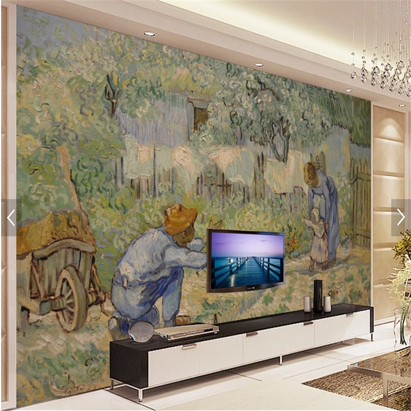 3D photo wallpaper Van Gogh oil painting work father love first step mural wallpaper wall mural home decor papel de parede
