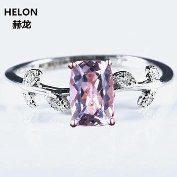 78504f422daf 4x6mm amortiguador morganita diamantes naturales de las mujeres anillo de  compromiso sólido 14 k oro blanco sólido 14 k hoja de oro romántico único