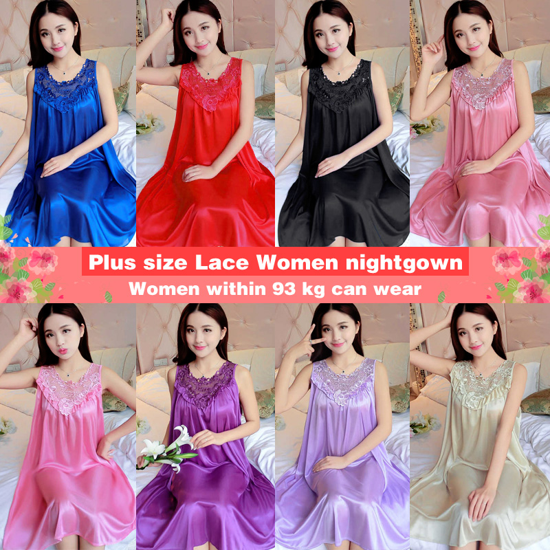 Yidanna Women nightgown Summer Sleepshirt Plus Size Lace Female Sleepwear Sexy Lady Silk Nighty Sleeveless Floral Sleep Clothing