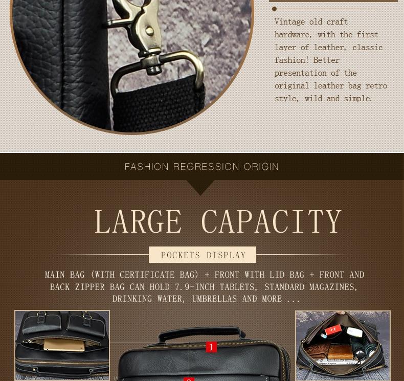 "HTB1NO4Jakfb uJkSnhJq6zdDVXa9 Le'aokuu Men Real Leather Antique Style Coffee Briefcase Business 13"" Laptop Cases Attache Messenger Bags Portfolio B207-d"