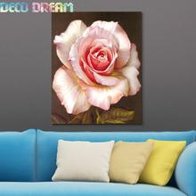 Diy Full Resin Round Diamond Painting Rhinestones Embroidery Kit Elegant Pink Rose Oils Flower Mosaic Decor As Good Hobby Gift