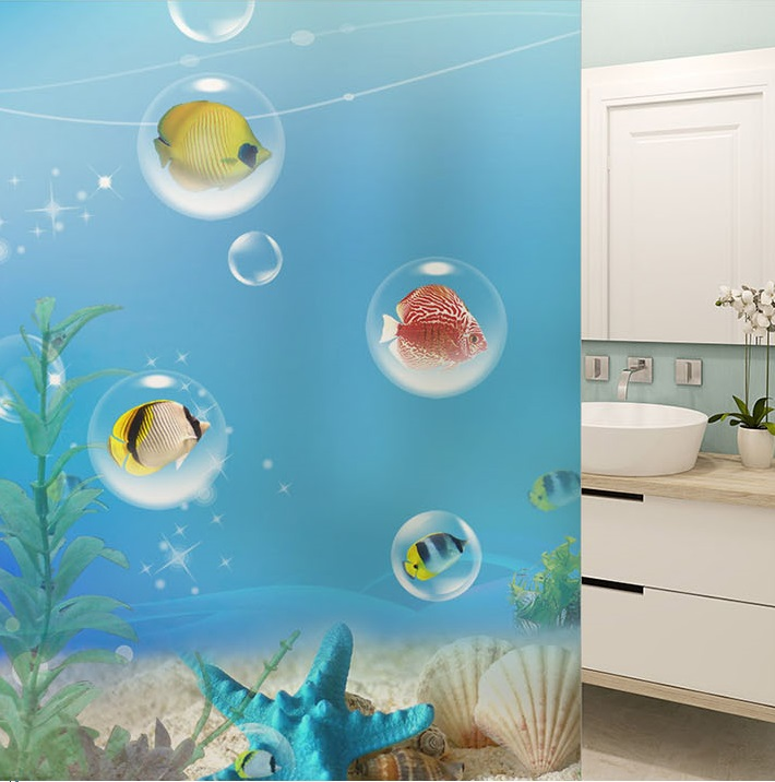 Custom Glass window Film electrostatic frosted stained door sticker, home foil stickers ,waterproof for bathroom submarine world