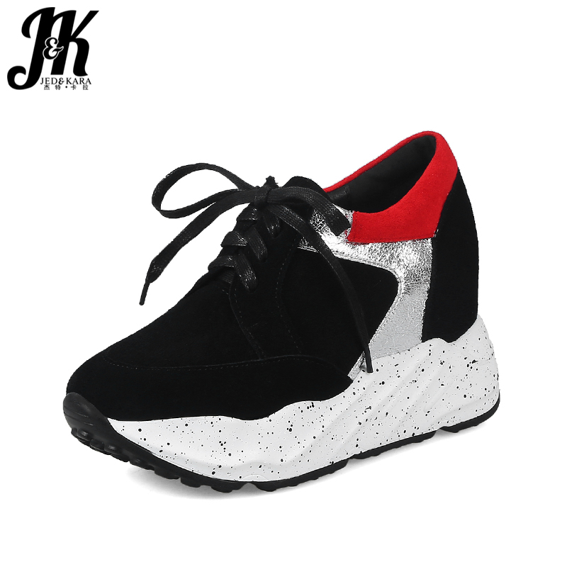 JK Casual Fashion Girl Sneakers Shoes Round Toe Lace Up Stitching Elevator Platform Footwear New Spring Women Wedges Flats Shoes glowing sneakers usb charging shoes lights up colorful led kids luminous sneakers glowing sneakers black led shoes for boys