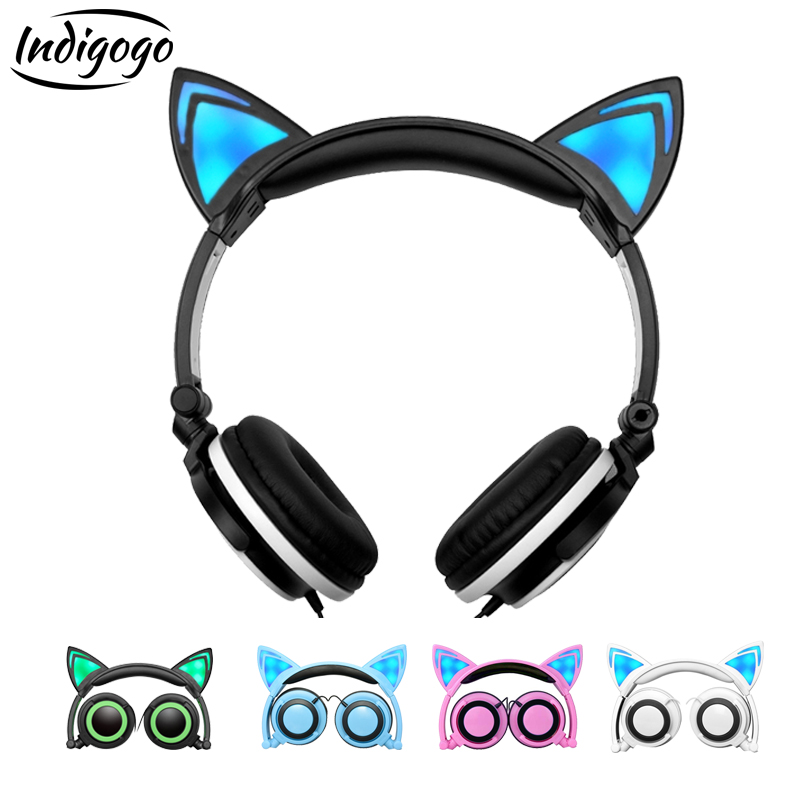 Indigogo Foldable Cat Ear Headphones Gaming Headset with Glowing LED light Earphone for phone auriculares For PC Laptop Computer magift sound effect gaming headset stereo headphones with mic for computer pc laptop gamer with led light over ear glowing