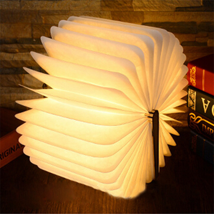 Folding LED Nightlight Creative LED Book Light Lamp Best Home Novelty Decorative USB Rechargeable Lamps White/Warm/Blue/Red