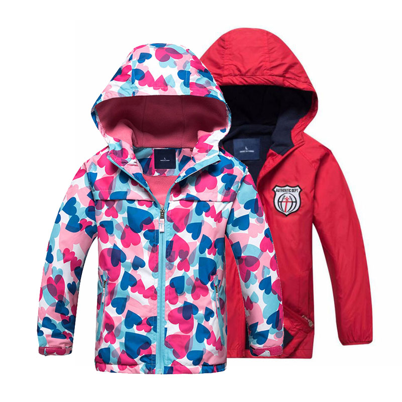 Girls Color Jackets Toddler Autumn Jacket Waterproof Outdoor Children's Clothing Sports Casual Hooded Coat Fleece Warm Outerwear(China)