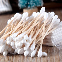 Women Beauty Makeup Cotton Swab Double Head Cotton Buds Make Up Wood Sticks Nose Ears Cleaning Cosmetics Health Care HT0107