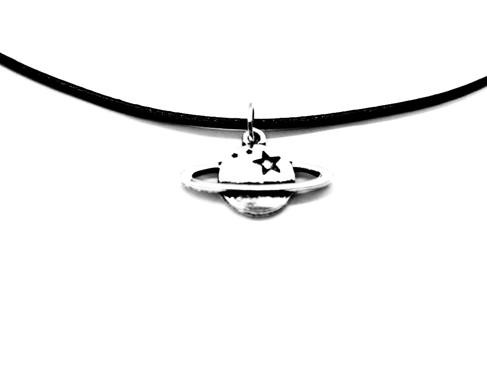 1PCS Saturn Jupiter Earth Planet Necklace Galaxy Solar System Star Pendant Necklace UFO Space Lovers Leather Rope Necklaces ...
