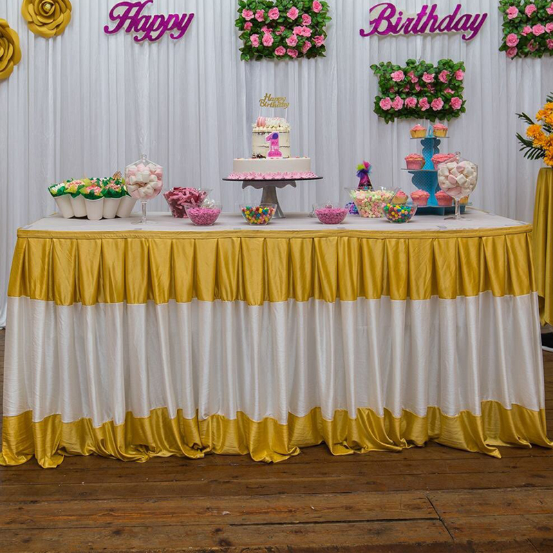 0 8 3 5M length Mixed color table skirts wedding decoration table skirting for event party