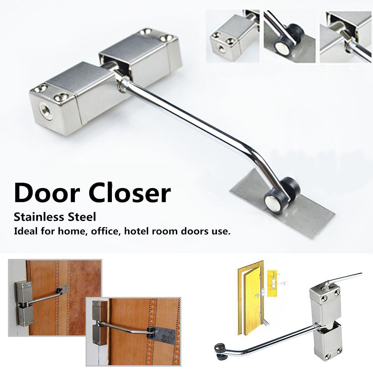Automatic Mounted Spring Door Closer Stainless Steel Adjustable Surface Door Closer 160x96x20mm