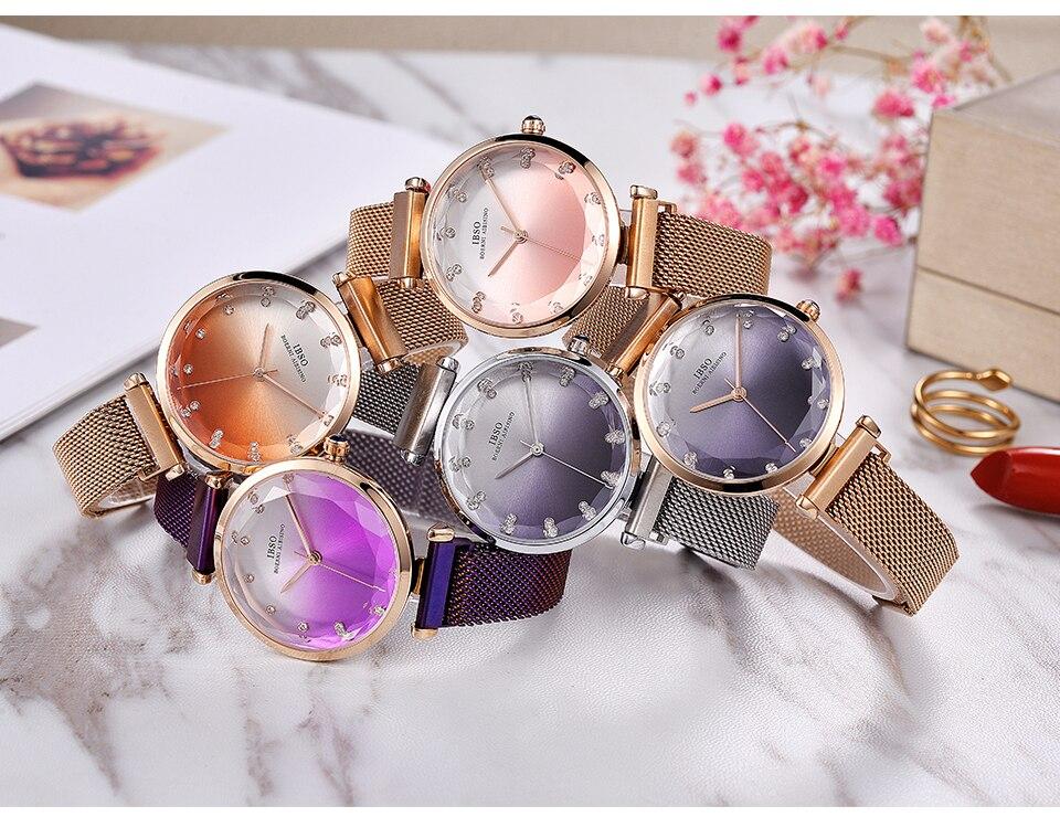 Fashion Women Hit Color Watches Female Cut Glass Design Quartz Watch Magnet Buckle 14