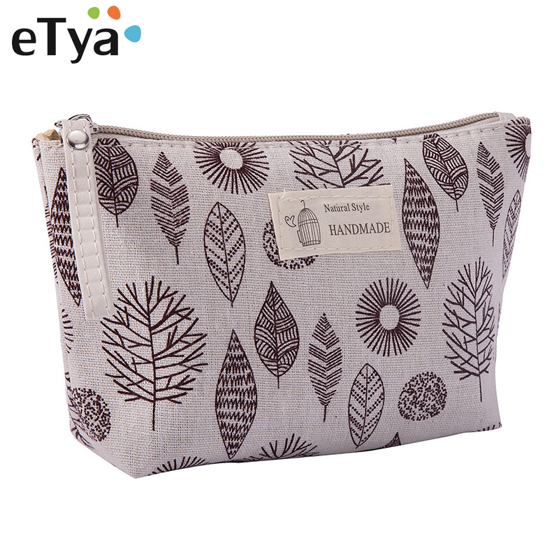 eTya New Women Travel Cosmetic Bag Female Canvas Portable Zipper Makeup Bag Hand Purses Cosmetics Toiletries Storage Wash Bag