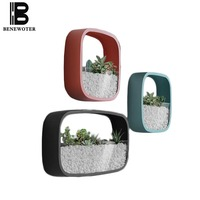 Creative Wall Vase for Home Decoration Adornment Artificial Flowers Vases Solid Color Iron Art Plant Holder Hanging Pot Basket