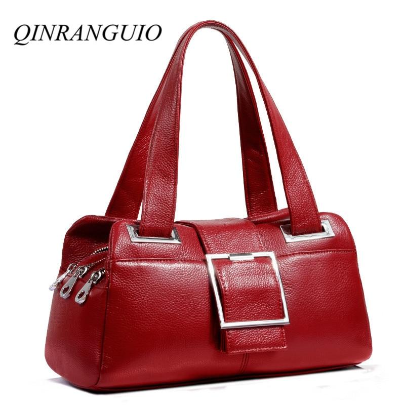QINRANGUIO Genuine Leather Women Bag Cow Leather Women Handbags Fashion Shoulder Bag Women Bags Handbags Women