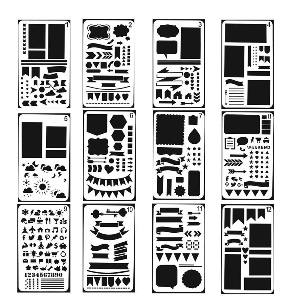 Home 8pc Stencil Sheep Elephant Child Painting Animal Openwork Scrapbooking Album Decorative Bullet Journal Template Drawing Stencils For Fast Shipping