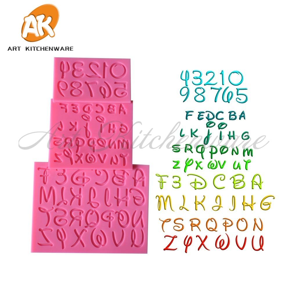 New 3pcs Letter Alphabet 3D Silicone Cake Mold Fondant Molds Sugarcraft Candle DIY Cake Decorating Tools Set Baking Tools SM-831