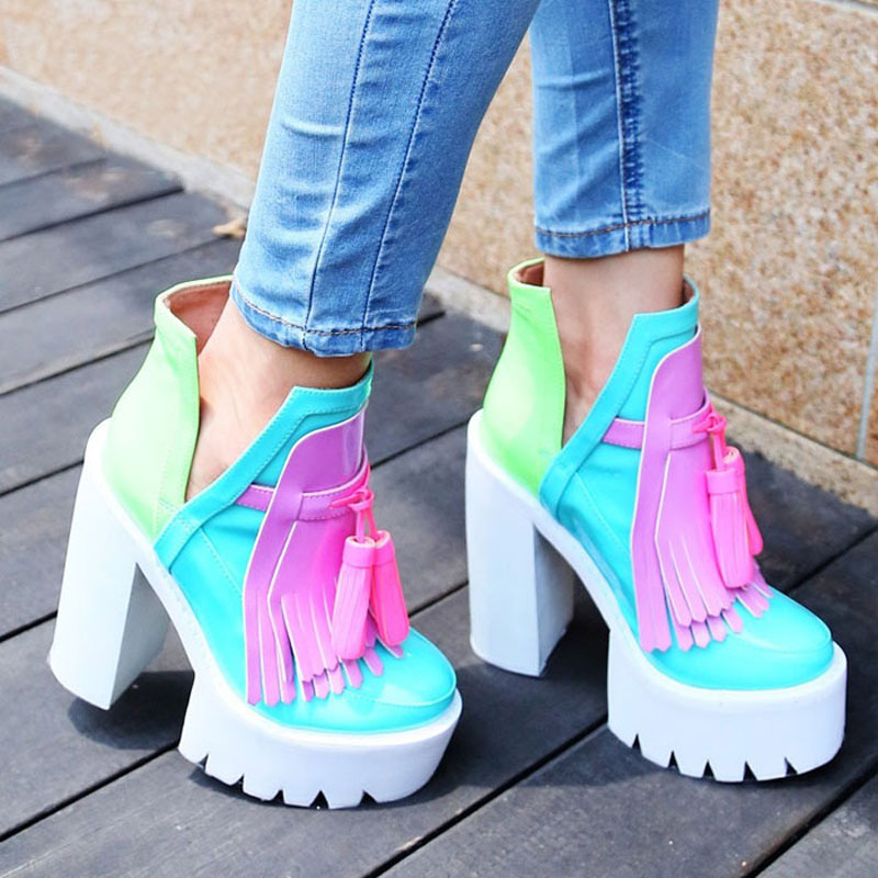 New fashion women platform ultra high heels Europe and America style splicing thick heel tassel women shoes-in Women's Pumps from Shoes    1