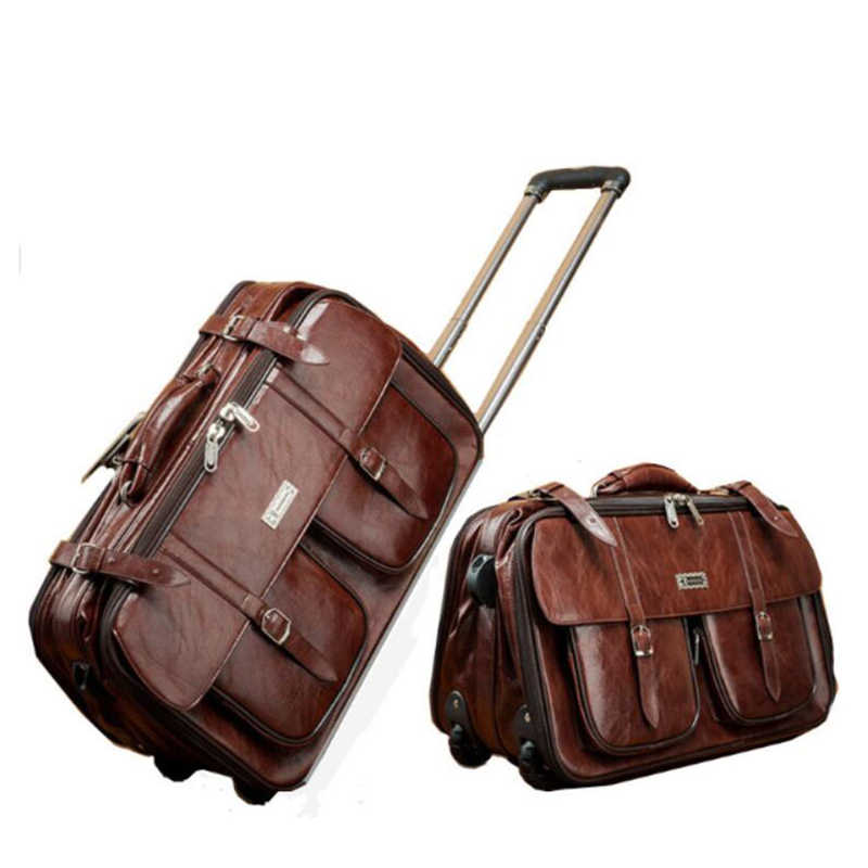007a85ac12 TRAVEL TALE pu leather men carry on Trolley Luggage Vintage Business Travel  Bags
