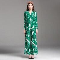 Green Women Twinsets Fashion European 2017 Summer Long Sleeve Turn Down Diamonds Shirt Loose Waist Elastic