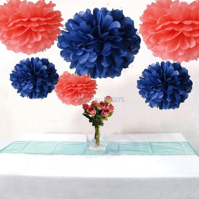6 Pcs Corail Bleu Marine Papier De Soie Fleur Pompons Mariage