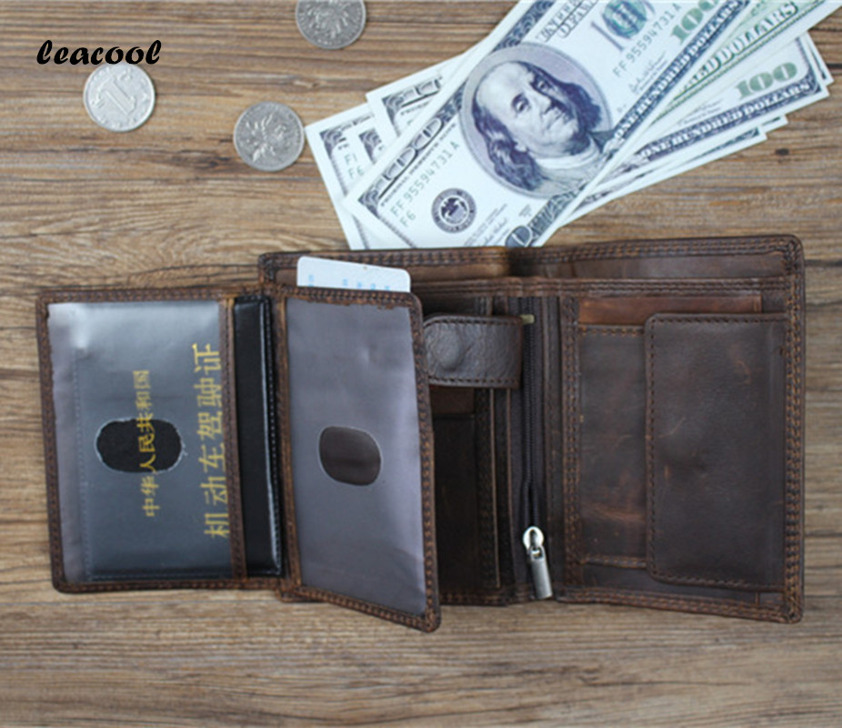 Vintage 100% Genuine Leather Men Wallet Small Zipper Men Walet Portomonee Male Short Coin Purse Brand Perse Carteira