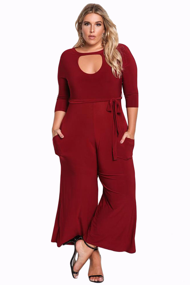 Plus Size Keyhole Front And Back Long Jumpsuit 3XL Autumn Women 3/4 Sleeve Belted High Waist Rompers One Piece Wide Leg Overall