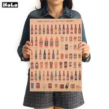 Vino cerveza encyclover of gráfico de la barra de Pub de papel Vintage cocina Retro cartel pintura retro pegatina de pared 42x30cm