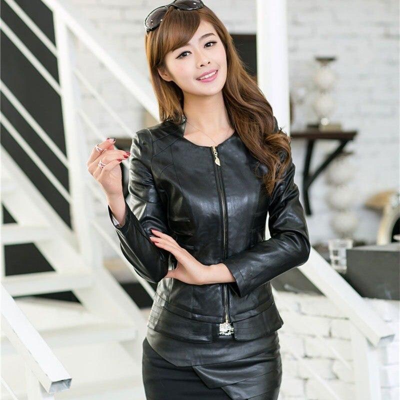 Hot Sale Autumn Solid Pu   leather   Jacket Casual Slim Motorcycle Short PU Coats Women Mandarin Collar Bomber Biker PU Outerwear