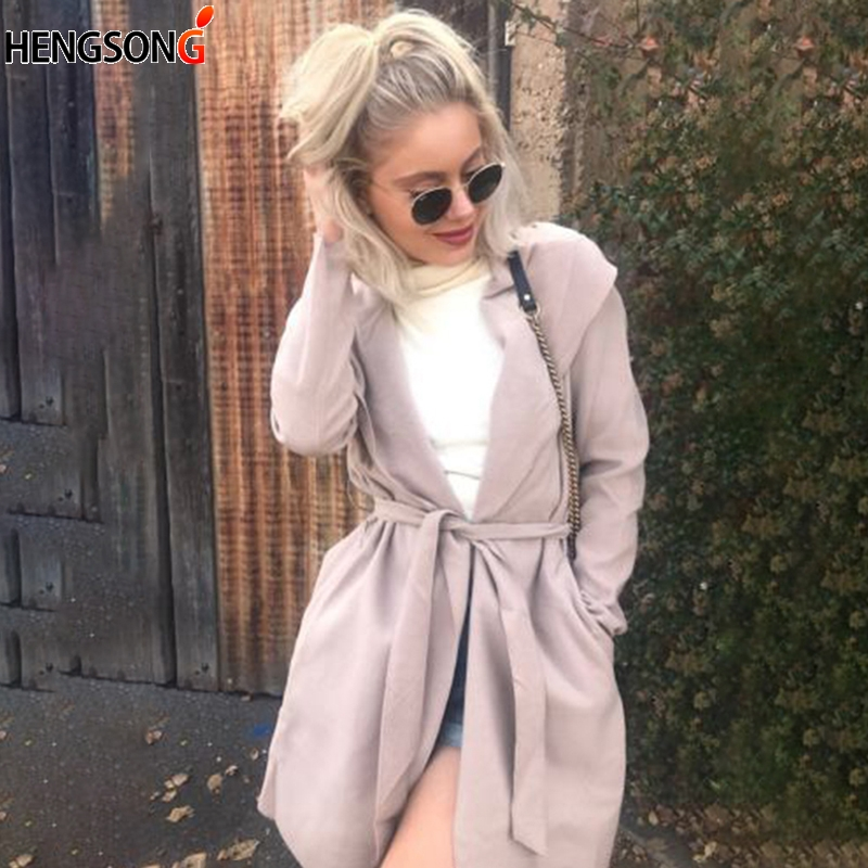 Women Casual Wild Loose Trench Coat Fashion Hooded Trench Cardigan With Sashes Loose Windbreaker Female