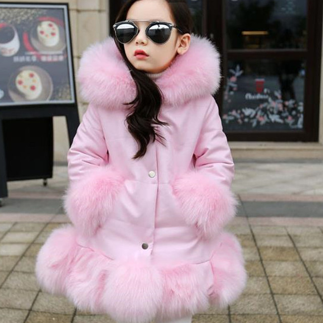 14d7506d3 Clobee 2017 Autumn Winter Baby Girls Fox Fur Coat Warm Faux Fur ...
