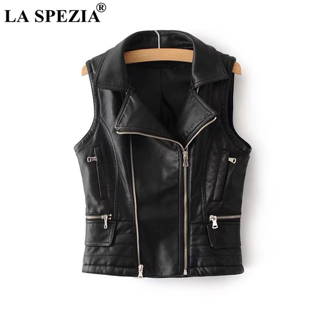LA SPEZIA Black Waistcoat Women Biker Punk Vest Female Zipper Pockets Faux Leather Slim Fit Motorcycle Autumn Sleeveless Jacket