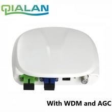 Włókna optyczne FTTH odbiornik optyczny SC/APC SC/UPC z WDM i AGC Mini węzeł kryty odbiornik optyczny z Biała walizka z tworzywa sztucznego