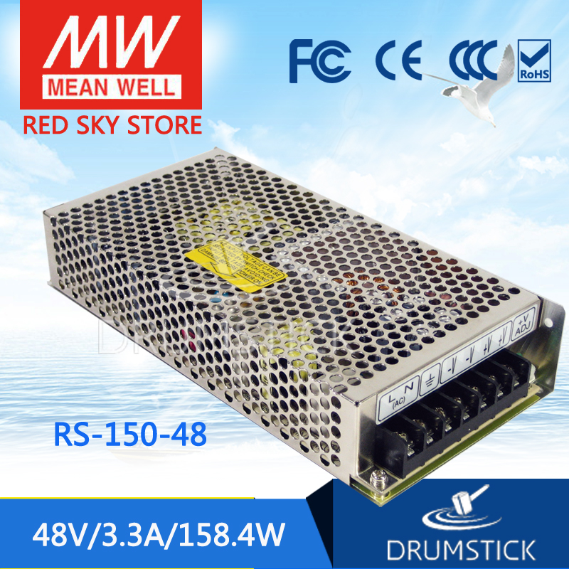 Selling Hot MEAN WELL RS-150-48 48V 3.3A meanwell RS-150 48V 158.4W Single Output Switching Power Supply [powernex] mean well original rs 100 24 meanwell rs 100 single output switching power supply