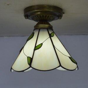 Image 1 - Tiffany потолочный светильник абажур из витражного стекла свежий Кантри Стиль освещение для спальни E27 110 240 В