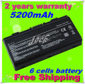 6 cells 5200MAH battery replacement for ASUS X51H X51L X51R X51RL T12 T12C T12Er T12Fg T12Jg T12Mg T12Ug A32 X51 Free shipping