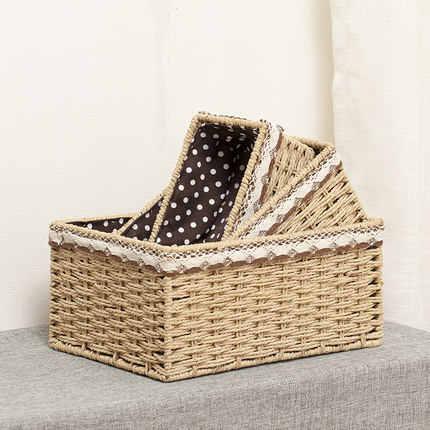 Imitação de papel de palha cesta de vime cesta de armazenamento de desktop caixa de armazenamento de cosméticos caixa de armazenamento de tecido cesta chave casa
