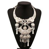 MJARTORIA Silver Retro Statement Necklace Women India Elephant Tassel Pendant Maxi Necklace Boho Bohemian Jewelry
