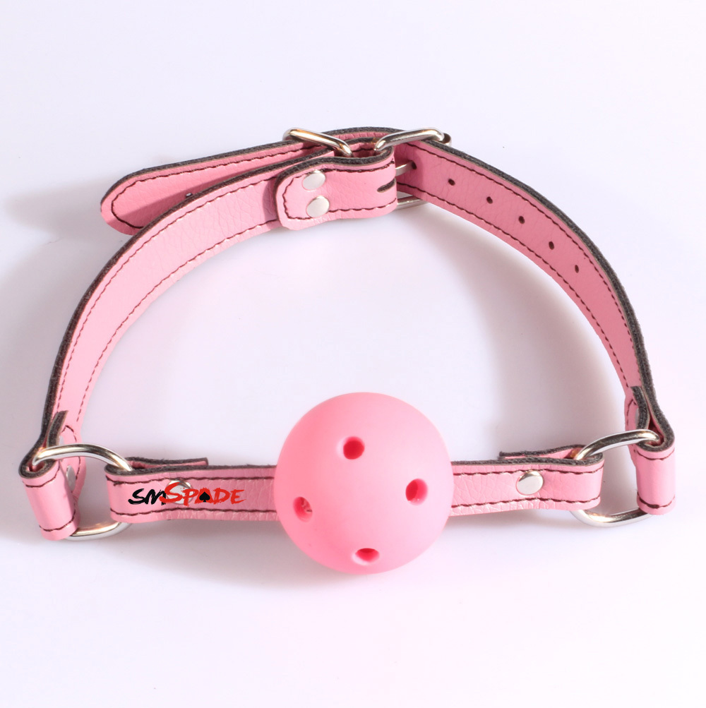 Pu Leather mouth plug Alternative toys hollow mouth gagged the ball horse with type Oral ...
