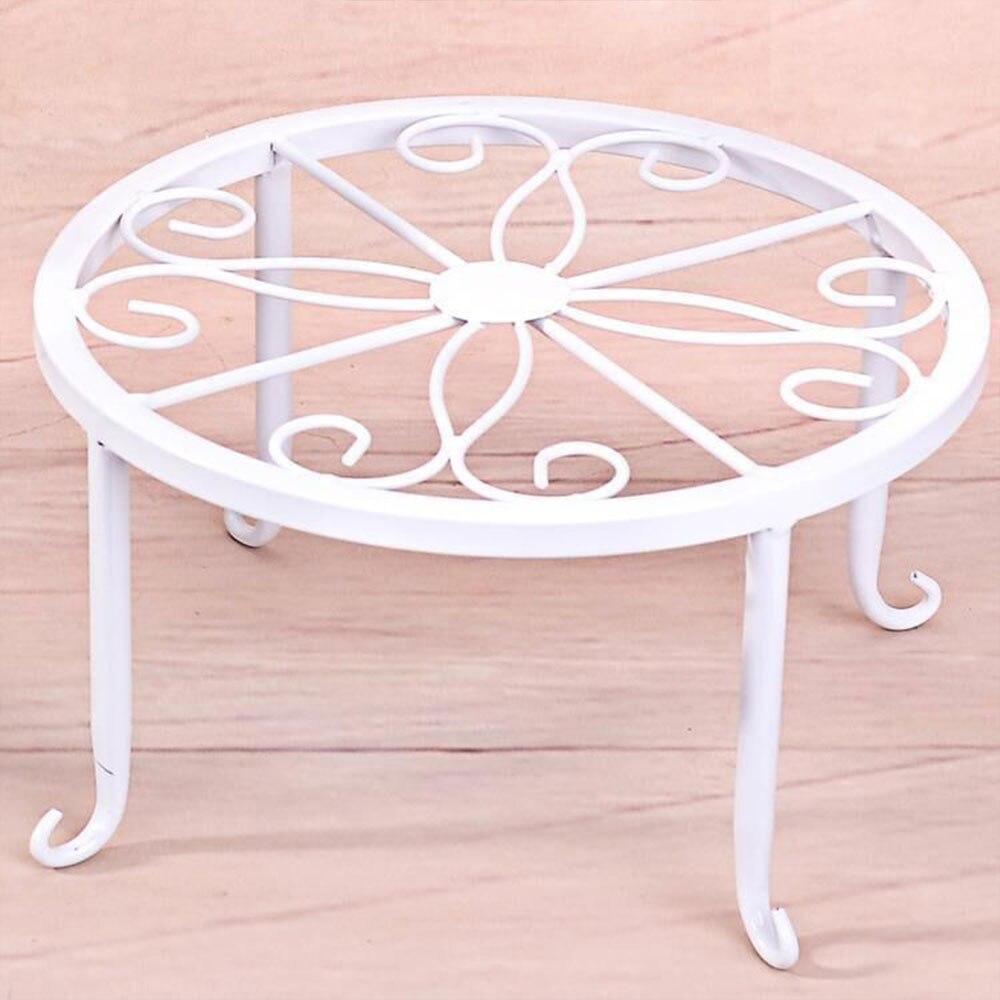 Горшечная стойка для цветочного горшка полка хранения цветов домашний декор создает прочный сад кованого железа - Цвет: white