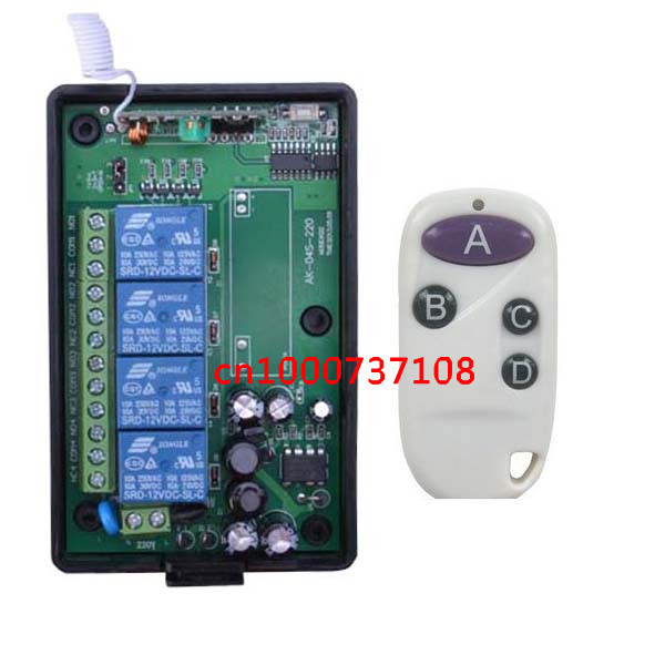 110v 220V RF Wireless Remote Control Switch Transmitter&Receiver 4CH for Light/LED/Lamp Applicance Toggle Momentary Latched 220v wireless remote control switch system rf 4 receivers 3transmitter for led light lamp freeshipping