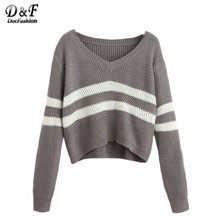Dotfashion Grey Striped V Neck Crop Tops Female Long Sleeve Pullovers 2016 Autumn Casual Knit Wear Sweater