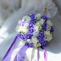 2016 Púrpura y Blanco de La Boda Ramo Hecho A Mano Flor Artificial Rose buque casamento Ramo de Novia para La Boda Decoración