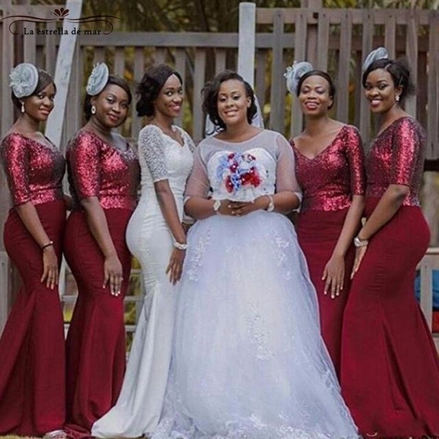 African Wedding Party Dress 2017 New Sequins And Satin Sleeves Y Mermaid Burgundy Bridesmaid Dresses Long