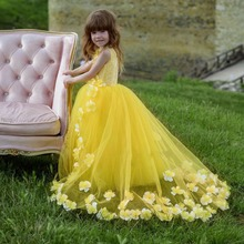 Cute Bright Yellow Flower Girl Dresses with 3D Flowers Ball Gown Girls Pageant