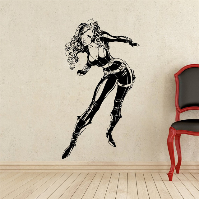 Black widow wall decal superhero vinyl sticker home art dc marvel comics wall decor mural - Marvel comics decor ...